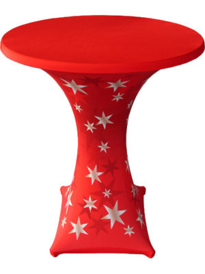 Stretchhusse GALACICA mit Sternen-Aufdruck STAR. Die perfekte Weihnachtsdekoration für Geschäft, Event und Privat. Stehtisch mit Kreuzfuß und Tischplatte in Ø80 bis 85 notwendig!