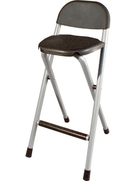 Klapphocker Klappofix in silber schwarz. Stabile Rückenlehne und PLatzsparend zu klappen!