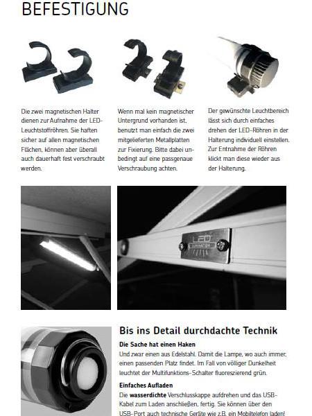 LED-Lumination: Befestigungsmöglichkeiten mit Schrauben oder Magneten an den Haltern; wasserdichte Verschlusskappen und Aufhängevorrichtung