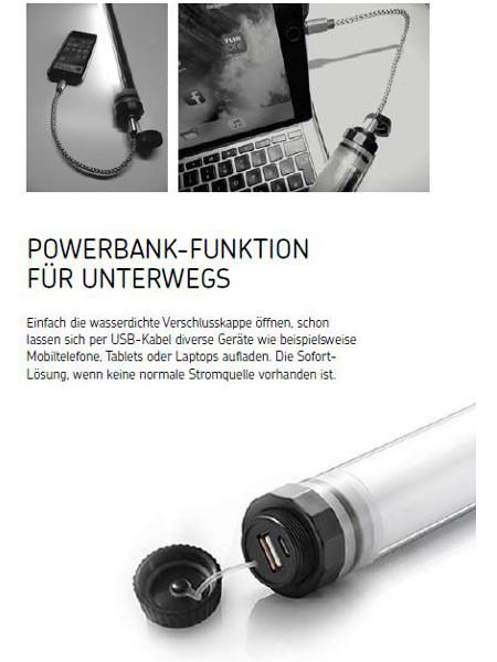 LED-Lumination: Nutzen Sie die Leuchte als Powerbank unterwegs für Smartphone oder Laptop!