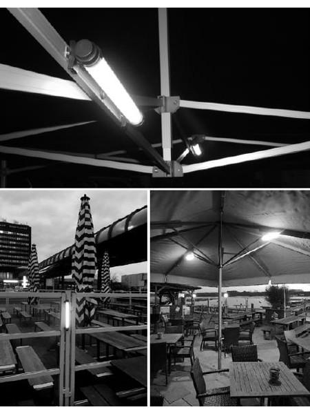 LED-Lumination: Einsatz-Beispiele. Als Zeltbeleuchtung, als Hinweisleuchte und als Beleuchtung für Großschirme