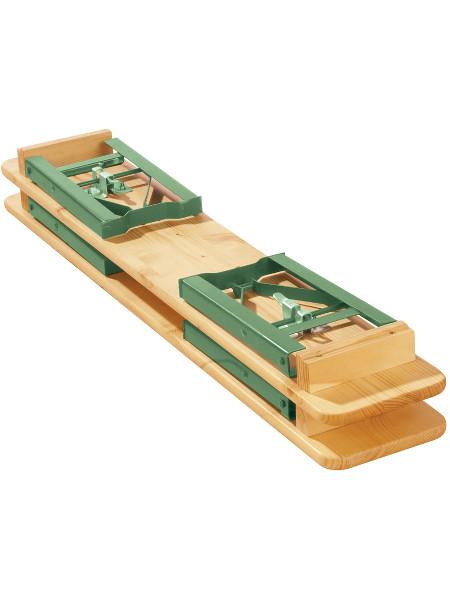 Bänk der Kindergarnitur SEPP. 2 Bänke einfach zu stapeln und Platzsparend zu lagern.