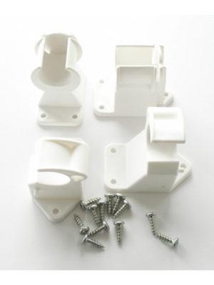 Klemmlager-Set in WEISS für Klappstehtisch KT70-85. Montageteile unter der Tischplatte inkl. Schrauben