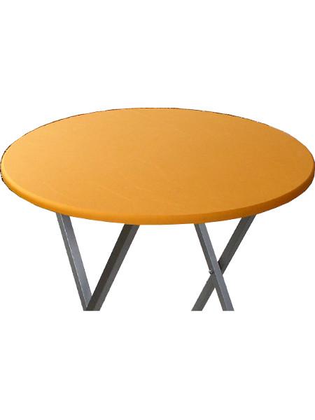 Stretch-Tischplattenbezug auf Tischplatte Ø 80. Hier auf eineem Scheren-Stehtisch