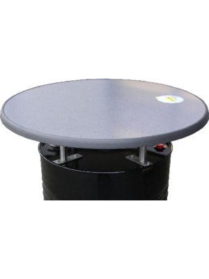 Bausatz-Fass-Stehtische. Fasshalter aus Edelstahl zum Nachrüsten mit Tischplatte in 85 cm Durchmesser