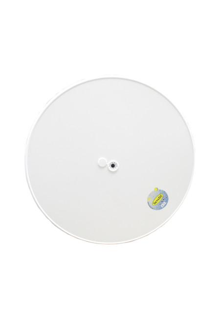 Original Sevelit-Tischplatte in Ø 70 cm im Dekor WEISS mit weißer schlagfester PE-Kunststoffkante und Schirmloch inkl. Einsatz