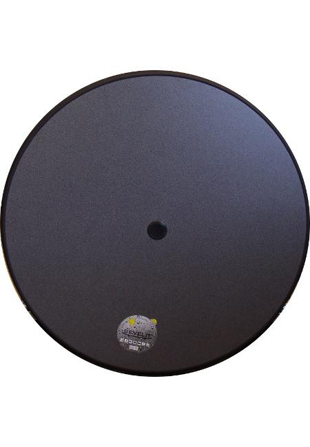 Original Sevelit-Tischplatte in Ø 85 cm im Dekor PUNTI mit anthraziter schlagfester PE-Kunststoffkante UND Schirmloch inklusive Schirmlocheinsatz