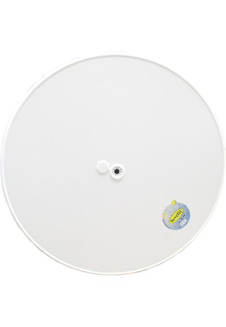 Original Sevelit-Tischplatte in Ø 85 cm im Dekor WEISS mit weißer schlagfester PE-Kunststoffkante UND Schirmloch inklusive -einsatz
