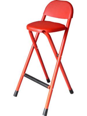Klapphocker in Rot mit Rückenlehne. Kunststoff und pulverbeschichtetes Stahlrohr. Leicht, stabil und praktisch!