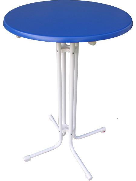 Klappstehtisch KT mit bunter Tischplatte: Hier in Blau mit weißem Untergestell. Tischplatte in der Größe Ø70 cm