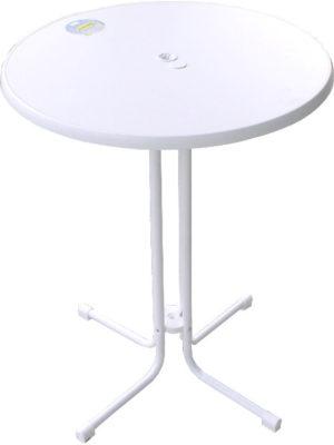 KT85s Klappstehtisch MIT Schirmloch in weiss mit Tischplatte Original SEVELIT weiss mit weisser Kante. TÜV- und GS-Zeichen für Tischplatte UND Untergestell. Alle Ersatzteile verfügbar. Deutsches Produkt!