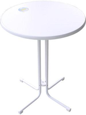 KT85 Klappstehtisch in weiss mit Tischplatte Original SEVELIT in Ø85 cm weiss mit weisser Kante. TÜV- und GS-Zeichen für Tischplatte UND Untergestell. Alle Ersatzteile verfügbar. Deutsches Produkt!