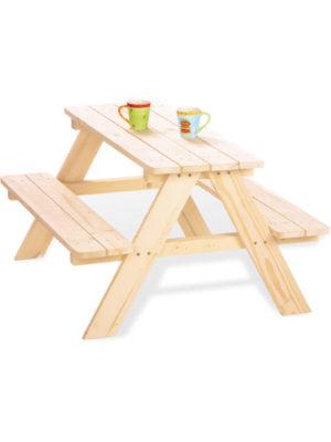 Sitzgarnitur NIKKI für Kinder. Paltz für 4 Kinder. Unbehandeltes Holz zum selbst lasieren oder lackieren. Achten Sie auch auf das passende Polster in rot-weiss gestreift.