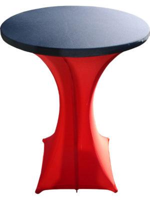 PIXI-80-Stehtisch mit 80er Tischplatte unter Stretchhusse GALACTICAmit zusätzlichem Tischplattenbezug. Akzente setzen durch verschiedenen Farben!