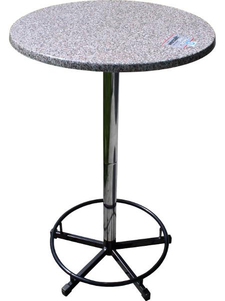 PrakTisch-Stehtisch mit Fussring und 70er Tischplatte in Granit-Optik. Zerlegbar, stapelbar und ideal für Beruf und Freizeit! Eben super praktisch!