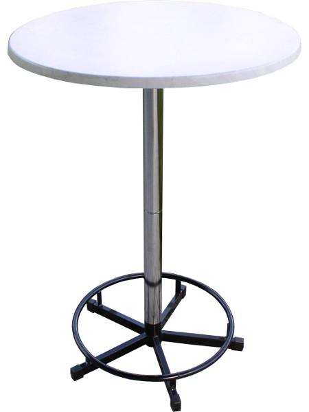 PrakTisch-Stehtisch mit Fussring und 80er Tischplatte. Zerlegbar, stapelbar und ideal für Beruf und Freizeit! Eben super praktisch!