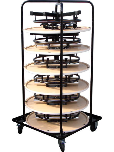 Praktisch-Stehtisch mit 80er Tischplatten gestapelt im Transportrolli. 6 Stück übereinnder. Achten Sie auf unser Angebot für komplett gefüllte Wagen inkl. Rollwagen!