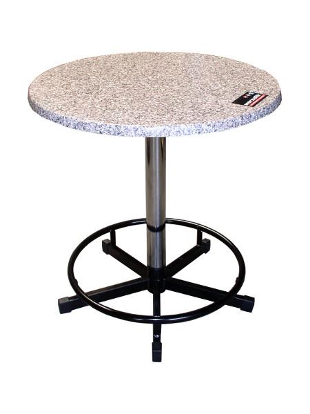 Stehtisch-Modell PRAKTISCH-70 als Sitztisch. Die Säule ist geteilt und das Säulenstück wird unter der Tischplatte in besonderer Halterung befestigt und gelagert. So geht nichts verloren!