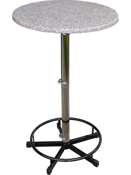 Stehtisch PRAKTISCH mit 70er Tischplatte in Granit-Optik und Fußring. Zerlegbar durch teilbare Säule. Stapelbar und in passenden Transportwagen Platzsparend zu lagern.