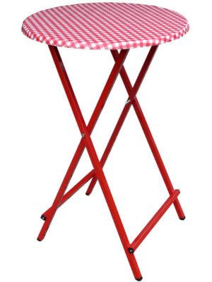 Scherentisch bunt: Klappstehtisch ST rot mit Tischplatte in KARO-ROT