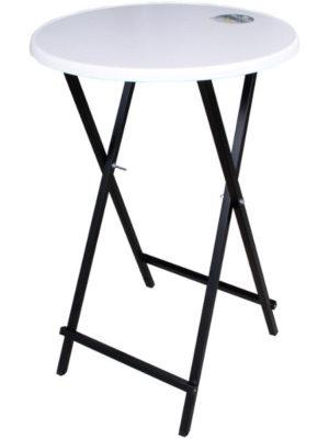 Scherenstehtisch ST-70 mit schwarzem pulverbeschichtetem Untergestell aus Stahlrohr und Original Tischplatte SEVELIT in Ø 70 cm weiss mit weisser Kante