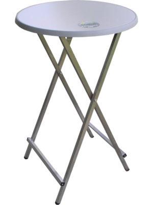Edelstahl-Stehtisch: Scherentisch Klappstehtisch Tischplatte Sevelit in Ø 70cm Alusilber