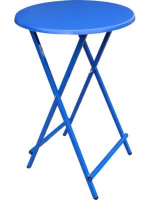 Scherenstehtisch ST-70 mit blauem pulverbeschichtetem Untergestell aus Stahlrohr und blauer Tischplatte in Ø 70 cm. Klappbar, individuell und stabil!