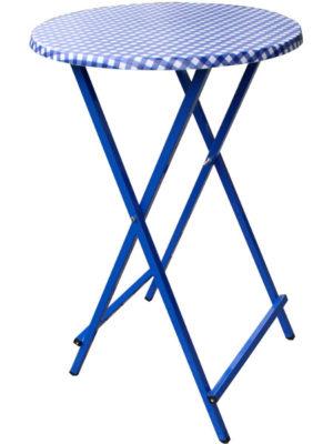 Scherenstehtisch ST-70 mit blauem pulverbeschichtetem Untergestell aus Stahlrohr und Karo-blauer Tischplatte in Ø 70 cm. Klappbar, individuell und stabil!