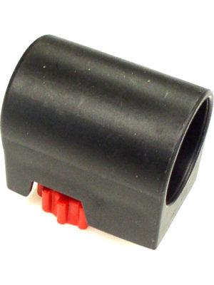 Fußkappe MIT Stellschraube vom Stehtisch KT - hier in Schwarz. Die Stellschraube ist immer ROT! Passend für Ø 28 mm Rundrohr