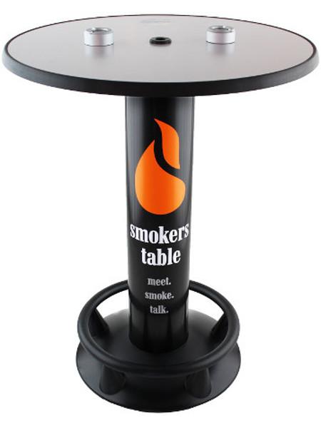 Raucher-Stehtisch, Promo-Stehtisch mit fest installierten Aschern auf der Tischplatte.