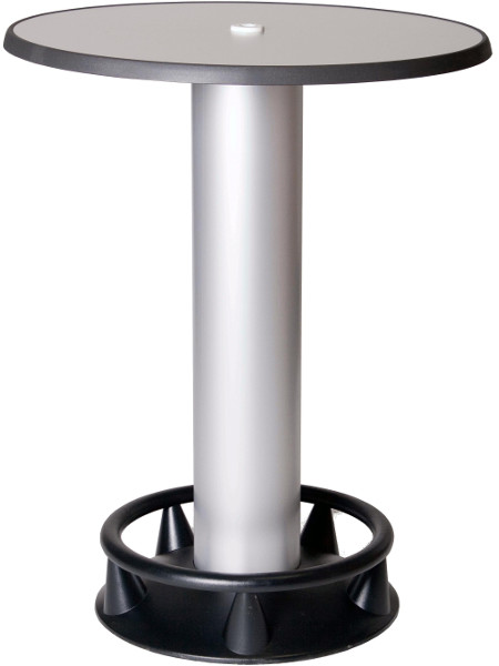 Promotable Silver Edition: schwarzer Sockel, silberne Säule und Tischplatte uin Aluoptik mit dunkler Kante