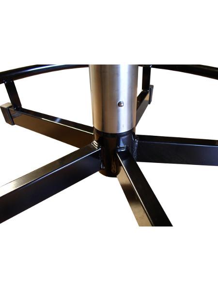 Praktisch-Stehtisch mit INOX-Standrohr: Detail Druecker-Verbindungstechnik
