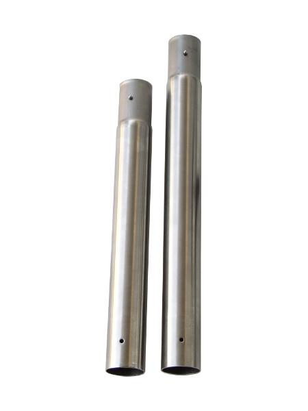 Zerlegbarer Stehtisch Praktisch: Hier INOX-Standrohr in den 2 verschiedenen Längen und Stecksystem mit Drücker
