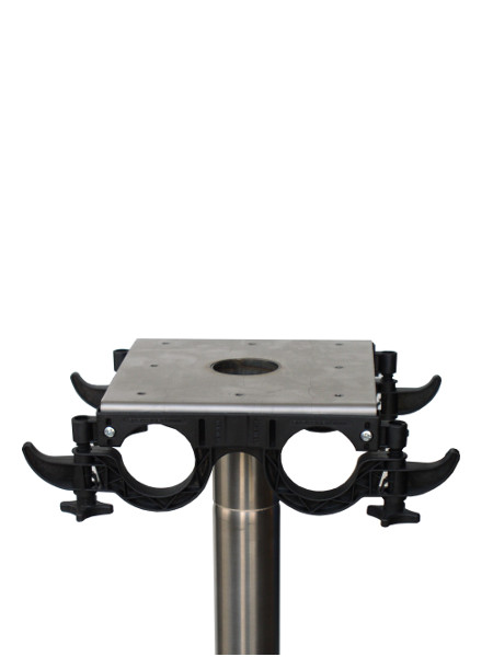 Praktisch-Stehtisch mit INOX-Standrohr: Anschraubplatte für die Tischplatte mit Montagesystem für die Säulen und 4 Taschenhaken