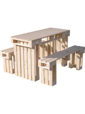 Palettensitzgruppe. Tisch und 2 Bänke in bester Qualität im patentiertem Steckystem