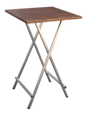 Eckiger Klapp-Stehtisch mit Holztischplatte 70x70 cm