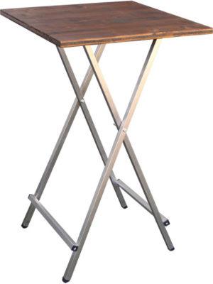 Eckiger Klapp-Stehtisch mit Holztischplatte 80x80 cm