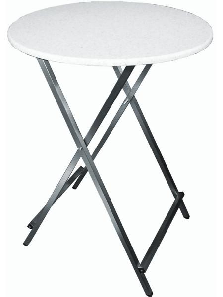Klappbarer Scheren-Stehstisch au sedelstahl mit Vollkunststoff Tischplatte in 80 cm Durchmesser. Der Profi-Stehtisch für alle Gelegenheiten!