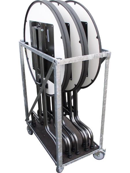 SK83 Klappstehtisch der stabilsten Art im 6er Transportrolli. Platzsparend und solide in der Bauweise. Made by KAISER Metall & Idee