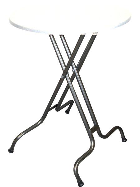 SK83 Klappstehtisch der stabilsten Art: hier Untergestell in Hammerschlagsilber pulverbeschichtet. Platzsparend und solide in der Bauweise. Made by KAISER Metall & Idee
