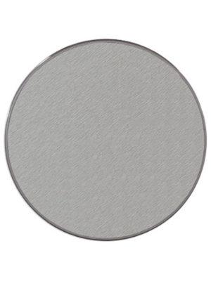 Wetterfeste Tischplatte Sevelirt in 85 cm Durchmesser im Dekor Aluoptik und hellgrauer Kante