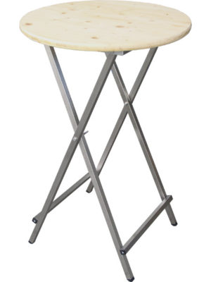 Klappbarer Scheren-Stehtisch mit Holz-Tischplatt eund Edelstahl-Untergestell.
