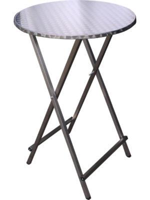 Stabiler Scheren-Stehtisch aus Edelstahl mit INOX Edelstahl Tischpatte in 70 cm