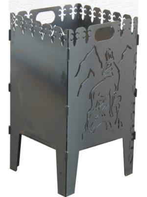 Feuerkorb mit Gams-Motiv an einer Seite