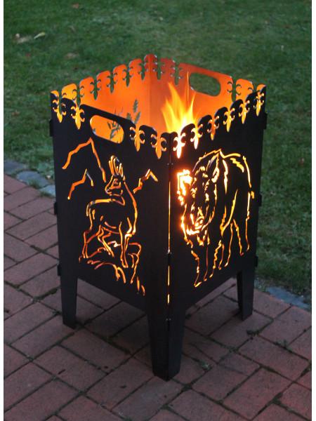 Feuerkorb mit Wildschwein und Gams-Motiv