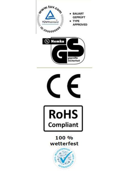 Sorrento-Single Heizstrahler mit Infrarottechnik: Prüfzeichen TÜV, GS, Wasserfestigekeit, CE, RoHS Compliant