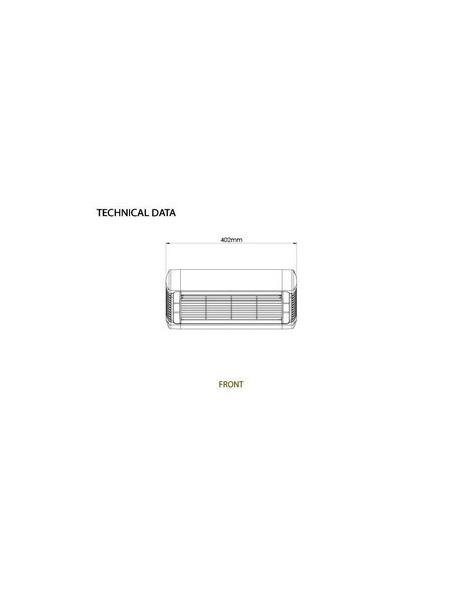 Technische Ansicht vorne: Sorrento-Single Heizstrahler mit Infrarot-Wärme