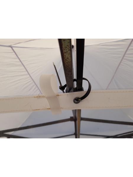 Corona-Schutz mit Öse und Kabelbinder befestigt innen an der Klappzelt-Schere