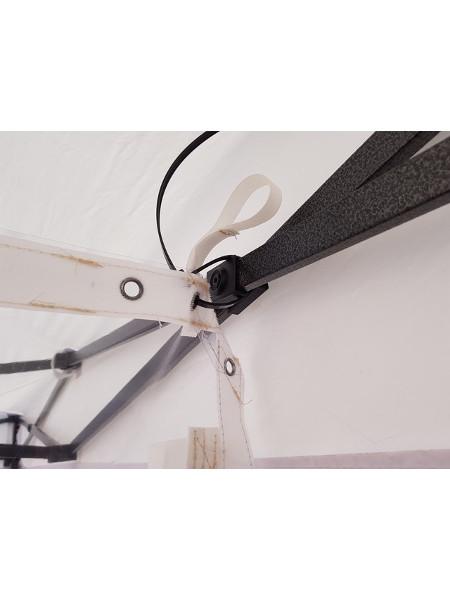 Corona-Schutz mit Öse und Flauschband mit Klette befestigt innen an der Klappzelt-Schere am Rand