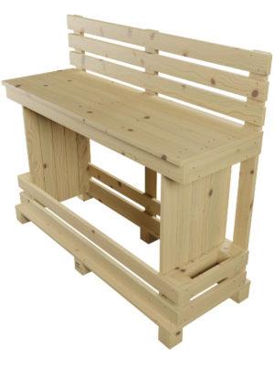 Hochbank LENI mit Rückenlehne aus der Serie der Palettenmöbel. Ideal passend zum Paletten-Stehtisch